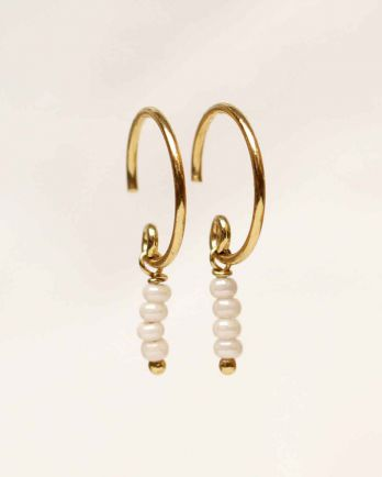 C- earring three pearl 2mm stick beads gold plated