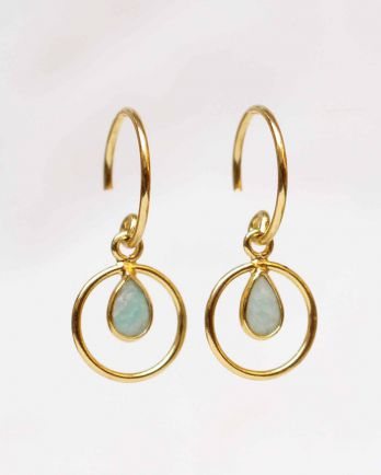 F- earring geo round with amazonite gold plated
