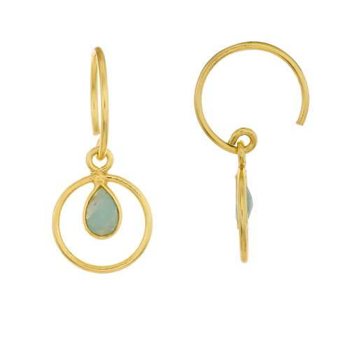 f earring geo round with amazonite gold plated
