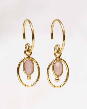 F- earring geo oval + ball with peach moonstone gold plated