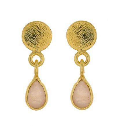 E- earring peach moonstone drop stud gold plated