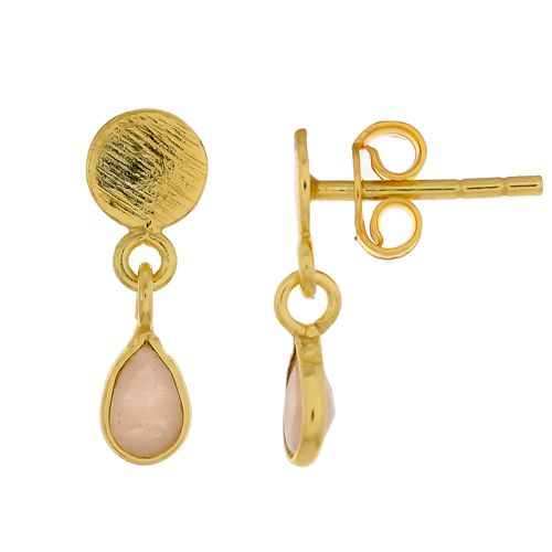 e earring peach moonstone drop stud gold plated