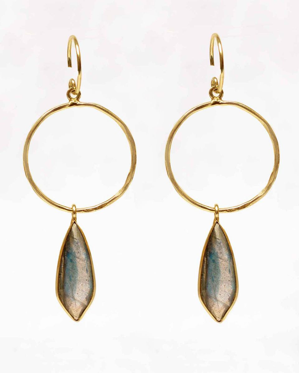 learring fancy labradorite on hoop gold plated
