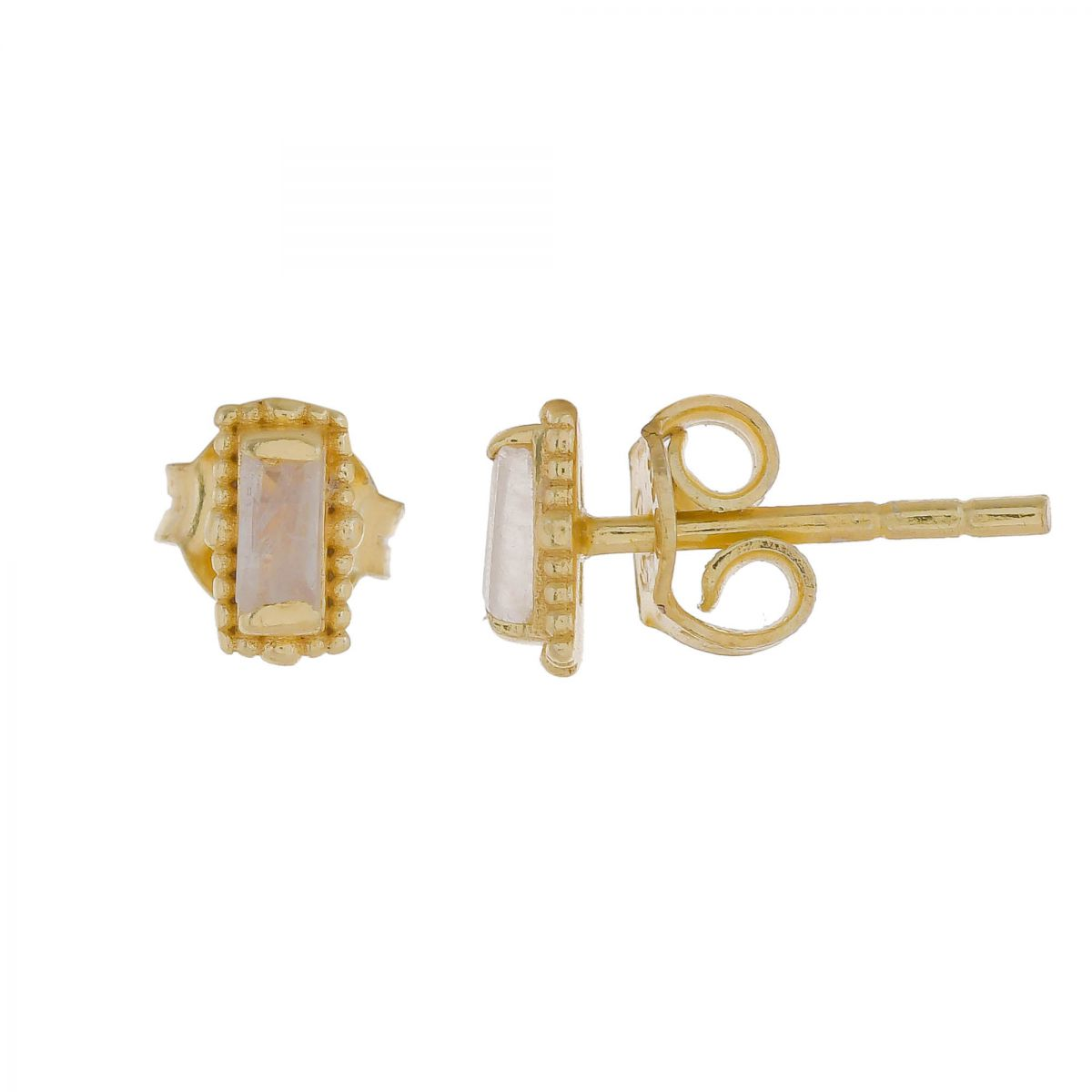 e earring moonstone stud gold plated