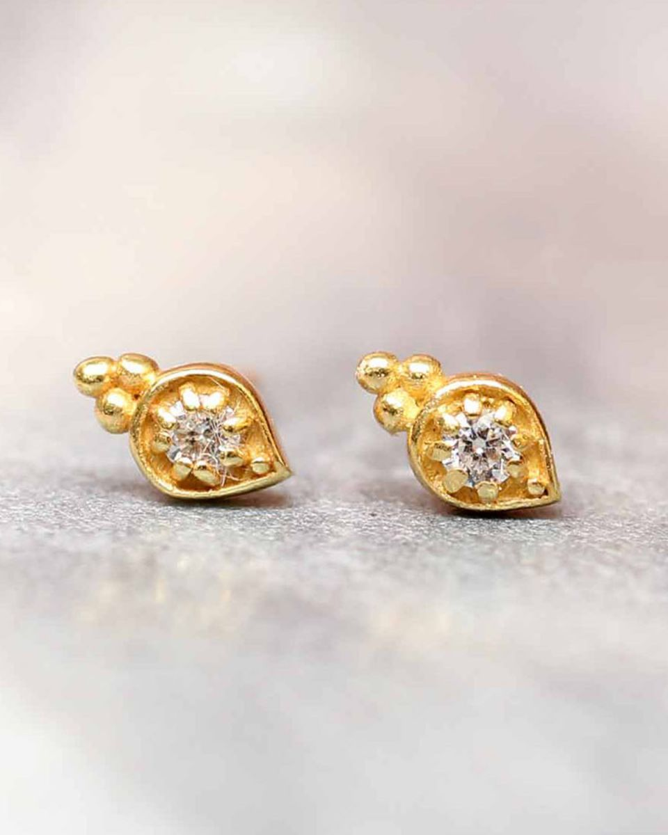 e earring zirkonia etnic drop stud gold plated
