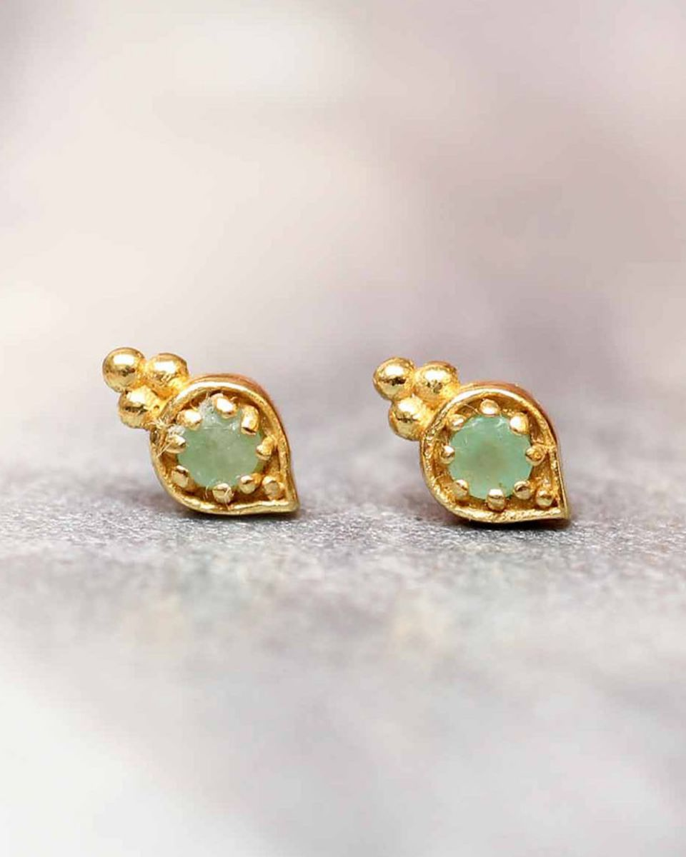 e earring amazonite etnic drop stud gold plated