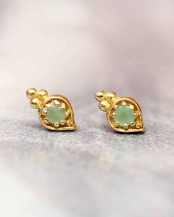 E- earring amazonite etnic drop stud gold plated
