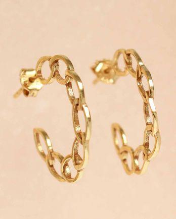 H- earring open cirkels hoop gold plated