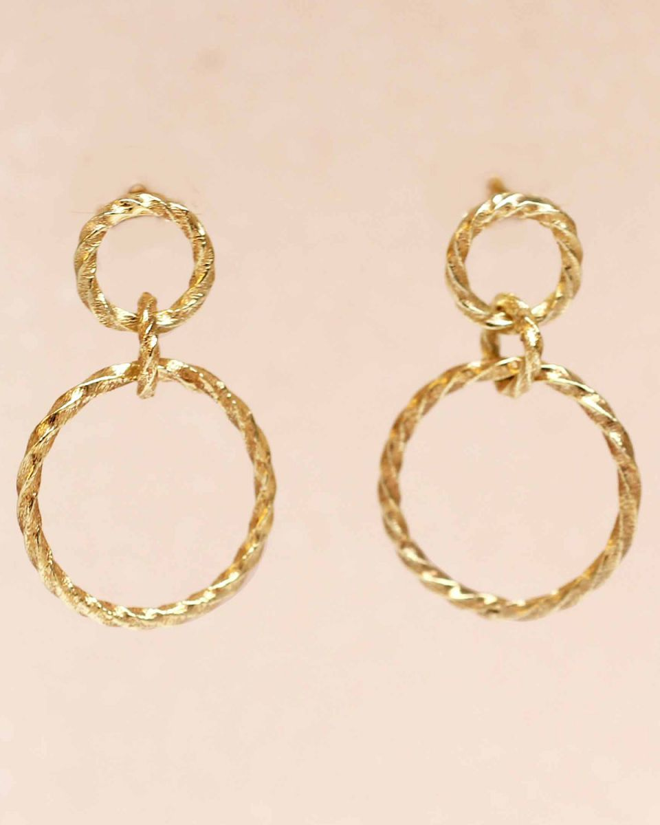 g earring hanging stud two hoops hammered gold plated