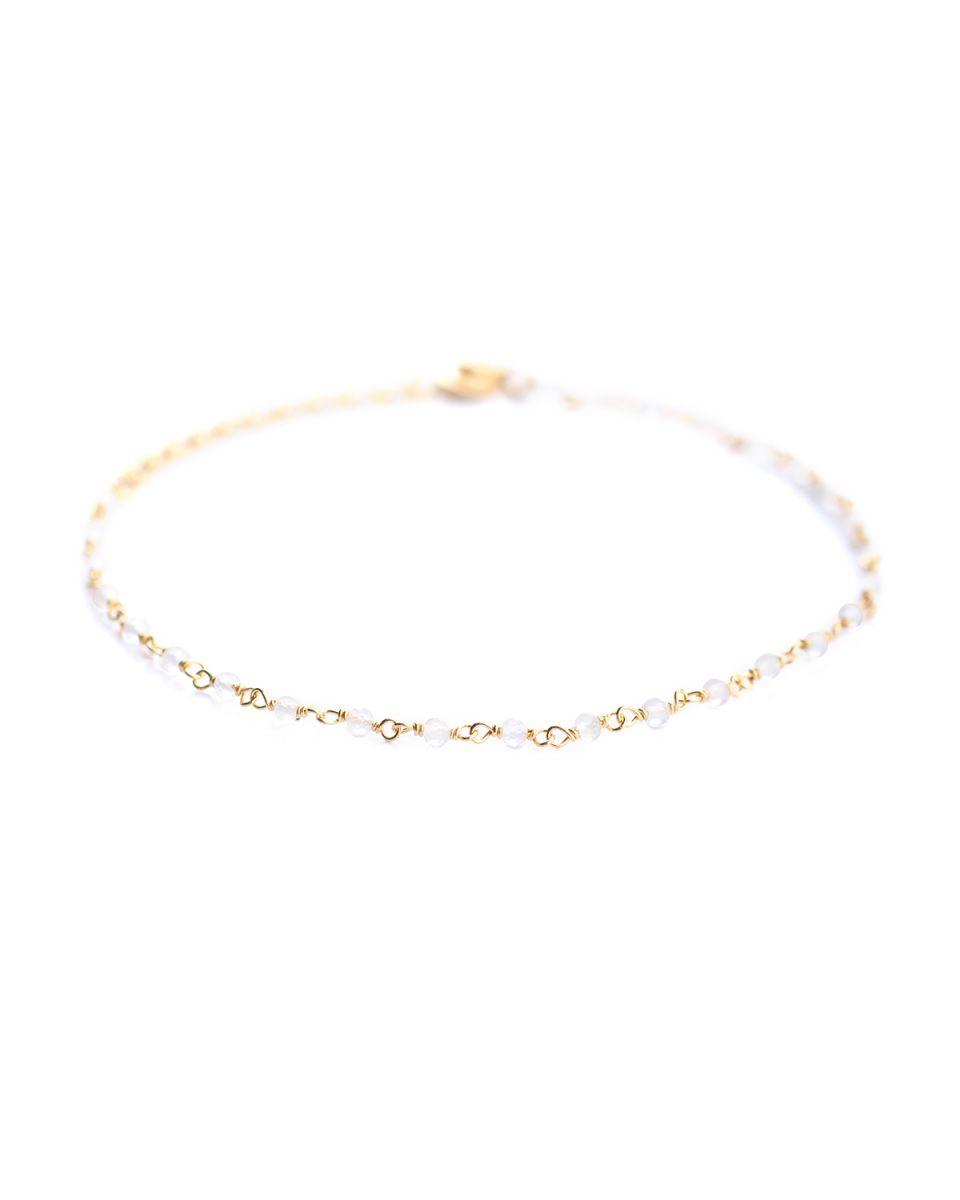 f bracelet 1 row white moonst gold plated