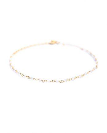 F- bracelet 1 row white moonst. gold plated