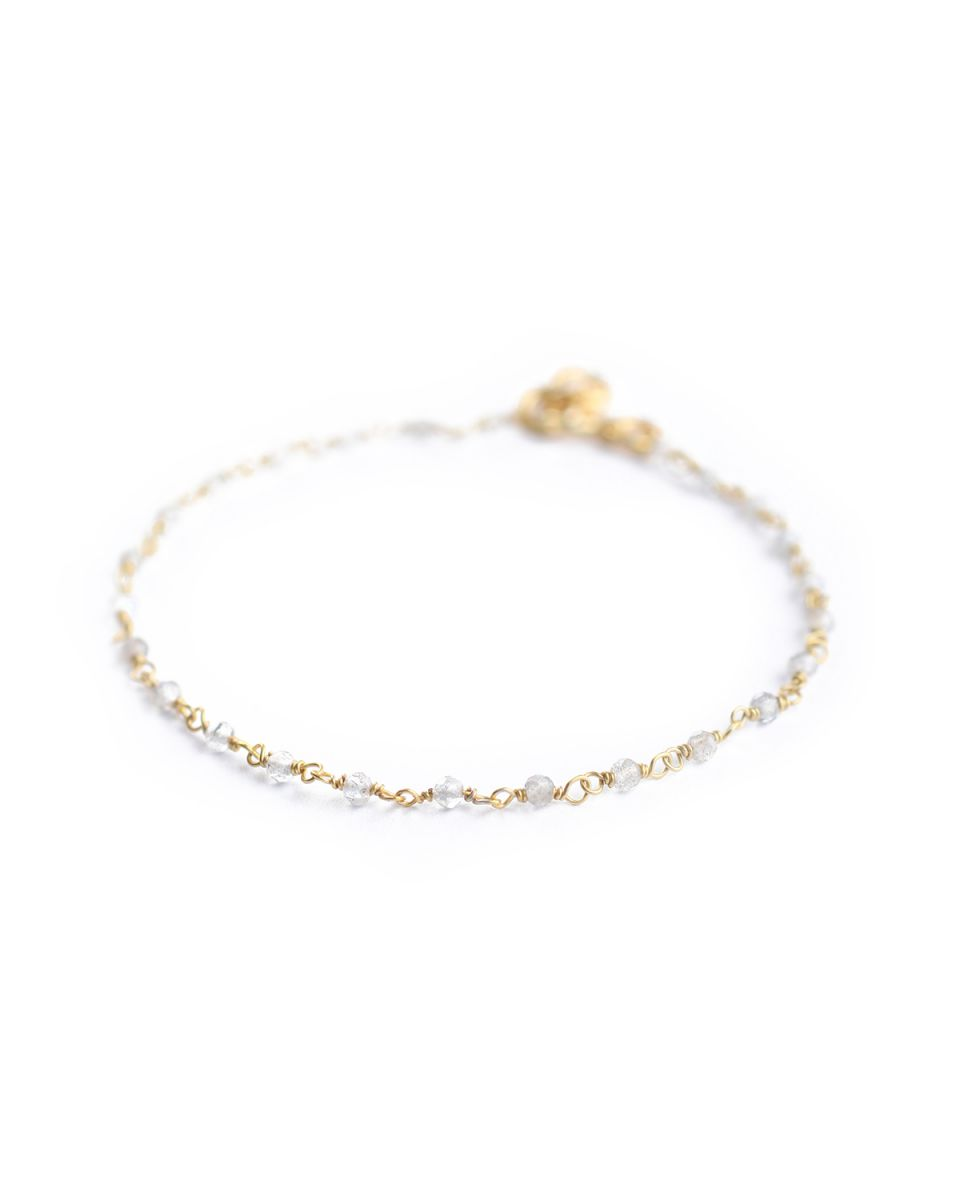 f bracelet 1 row gray agate gold plated