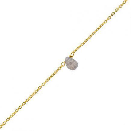 F- bracelet labradorite drop and 2mm peach m. st. gold pl.