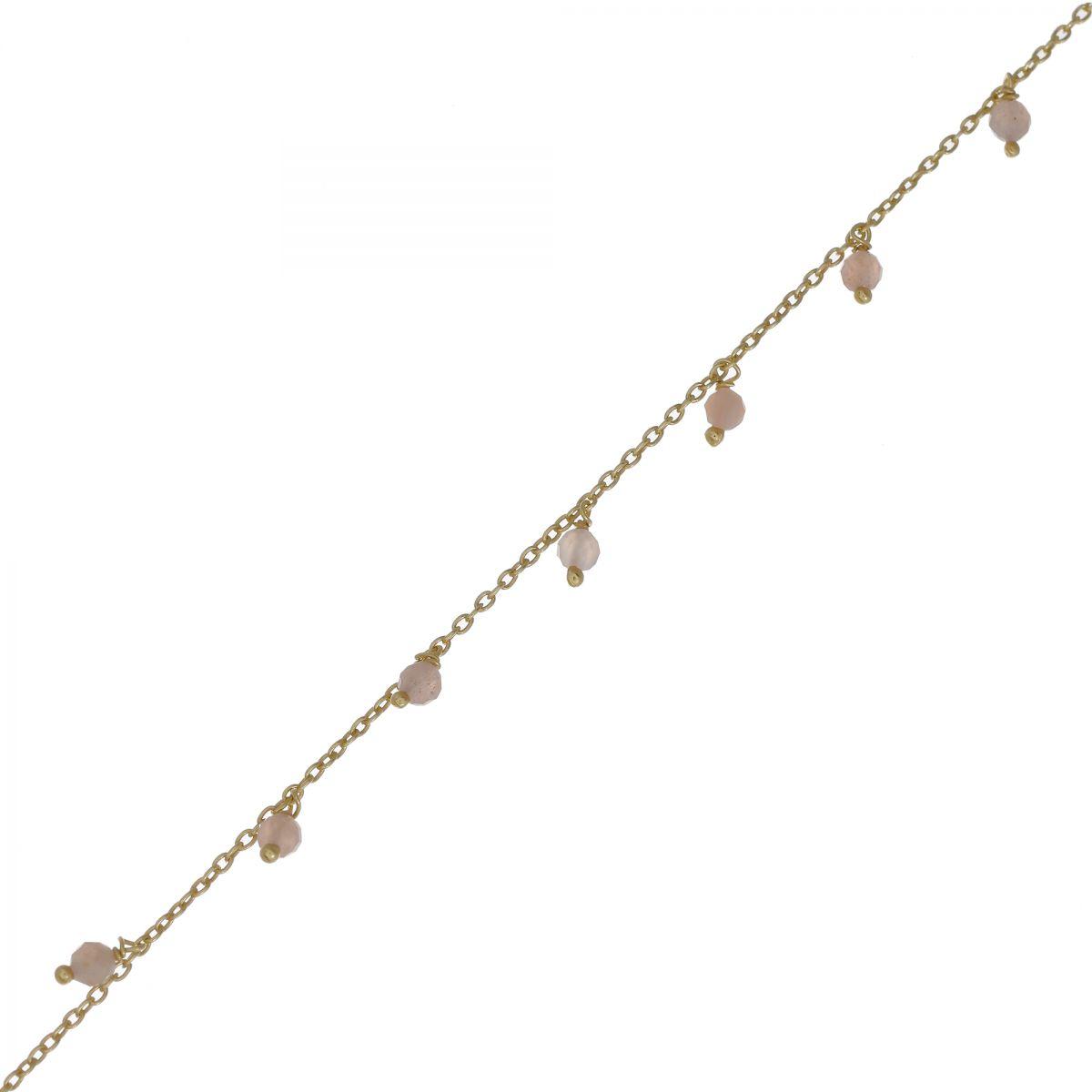 f bracelet 3mm 8 pendants peach moonstone beads g pl