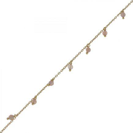 F- bracelet 3mm 8 pendants peach moonstone beads g. pl.
