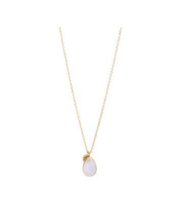 J- collier drop 55cm rose quartz gold plated
