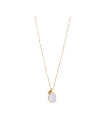 J- collier drop 55cm rose quartz gold plated