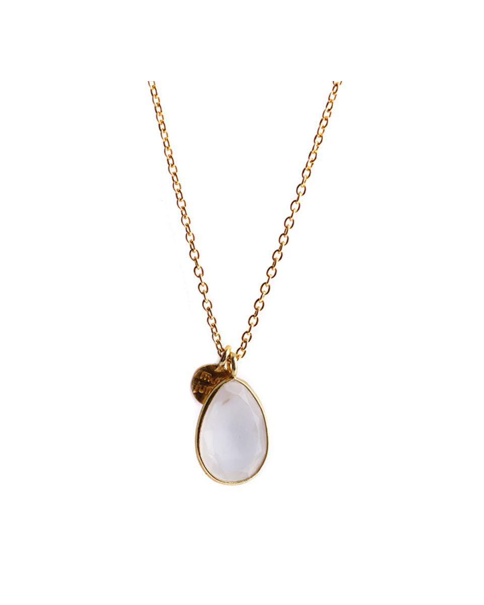 j collier drop 55cm rose quartz gold plated