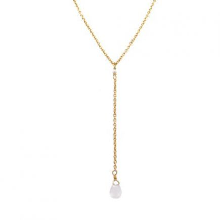 H-collier ypsilon white moonstone drop and 2mm pearl g.pl.