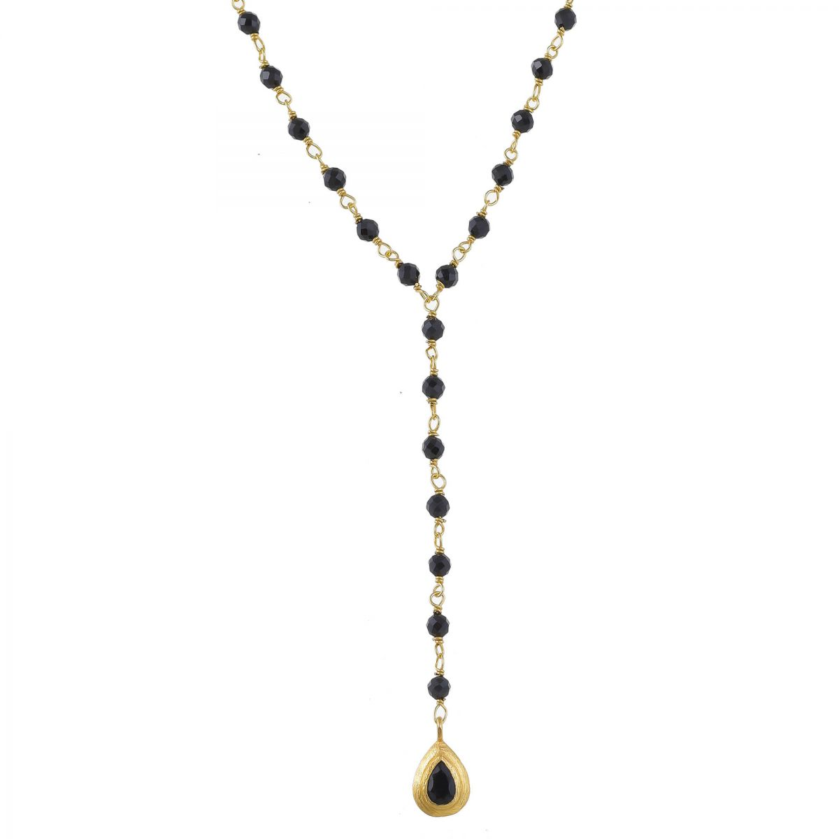 mcollier black agate beads with drop gold plated