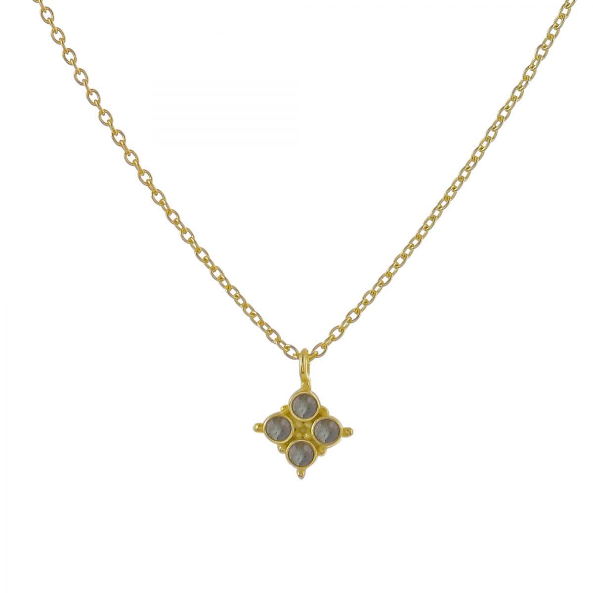 hcollier 4 labradorite stones gold plated