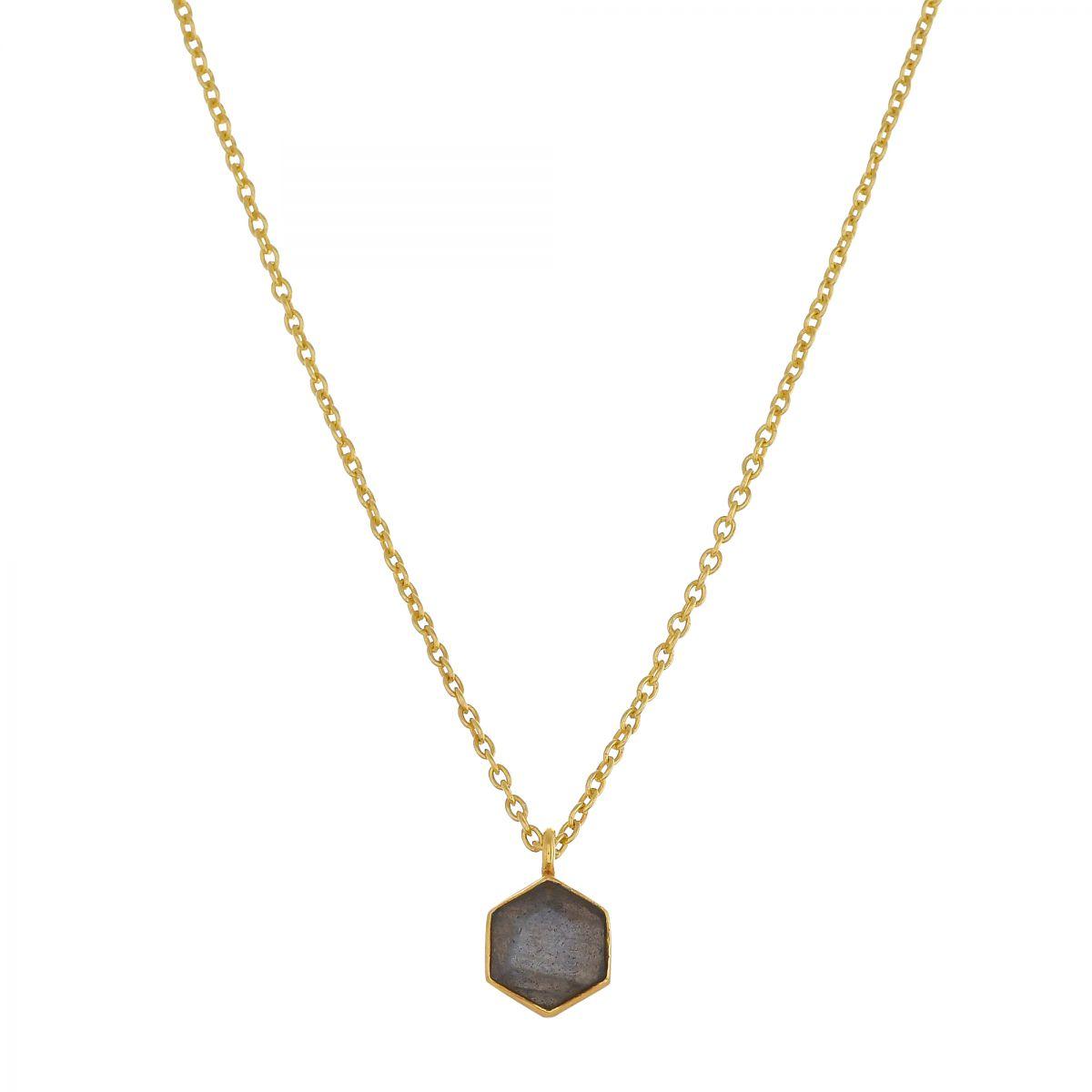hcollier 6mm labradorite hexagon gold plated