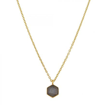 H-collier 6mm labradorite hexagon gold plated