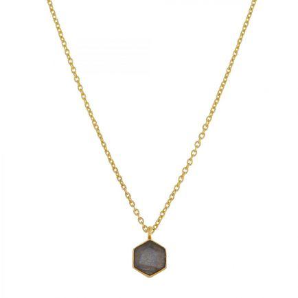 H-collier 6mm labradorite hexagon gold plated