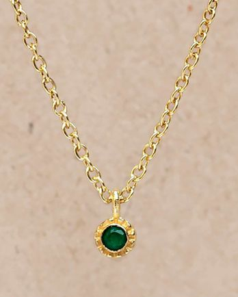 F-collier green agate round with stone gold plated - 55cm