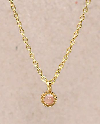 F-collier peach moonstone round with stone g. pl. - 55cm