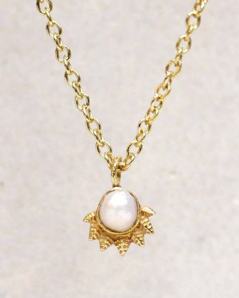 H-collier white pearl dot with crown gold plated - 55cm