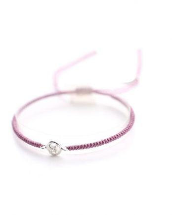 C- bracelet rose cord with zirkonia