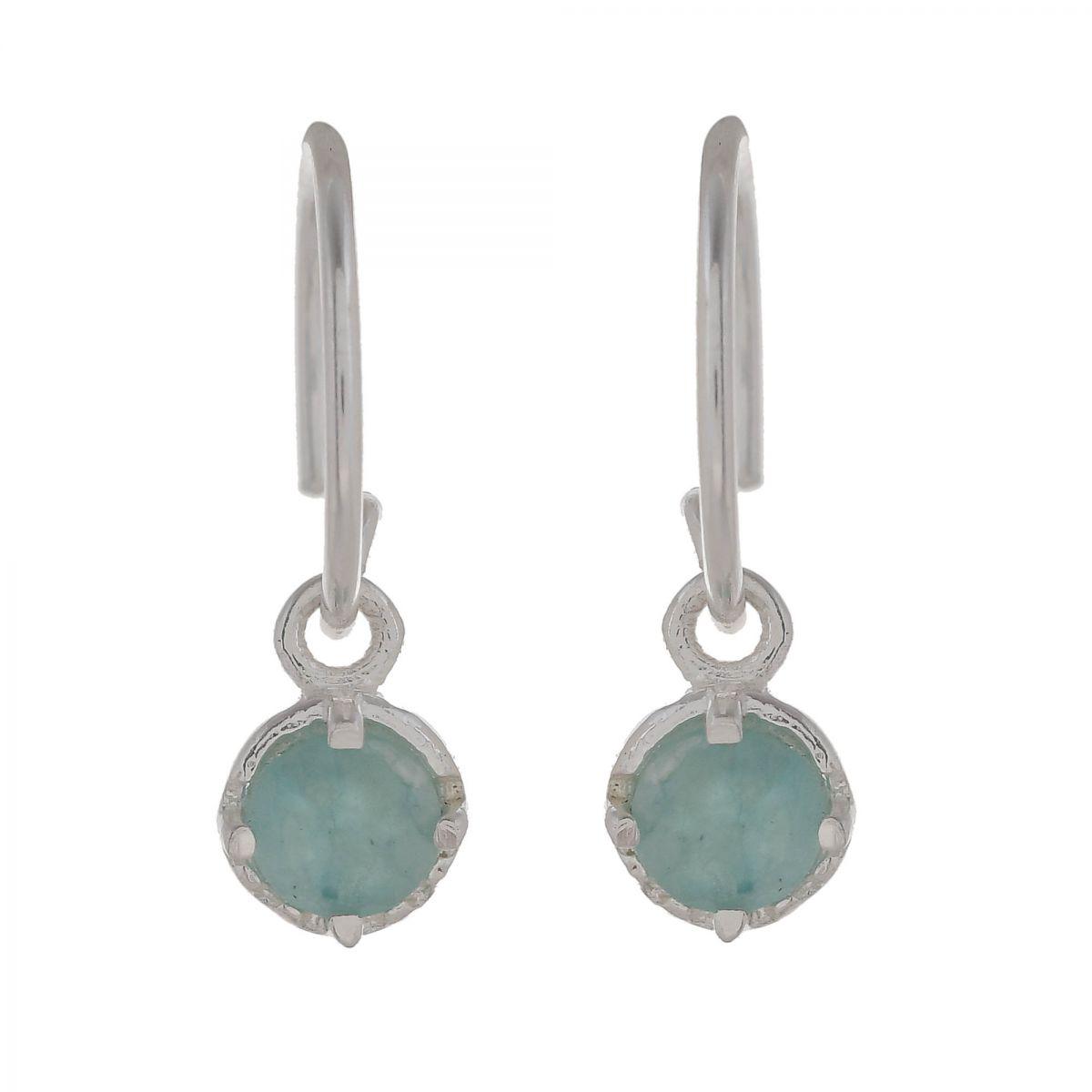 c earring 4mm hanging round amazonite