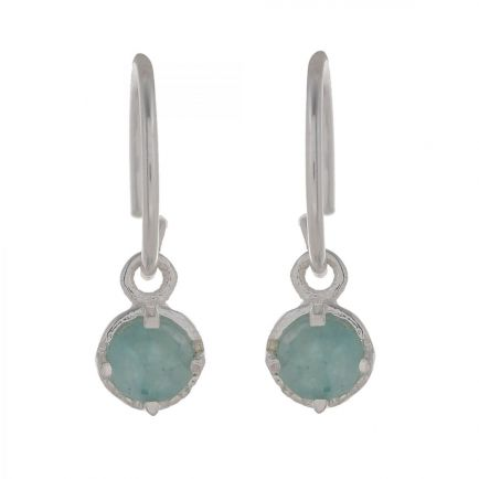 C- earring 4mm hanging round amazonite