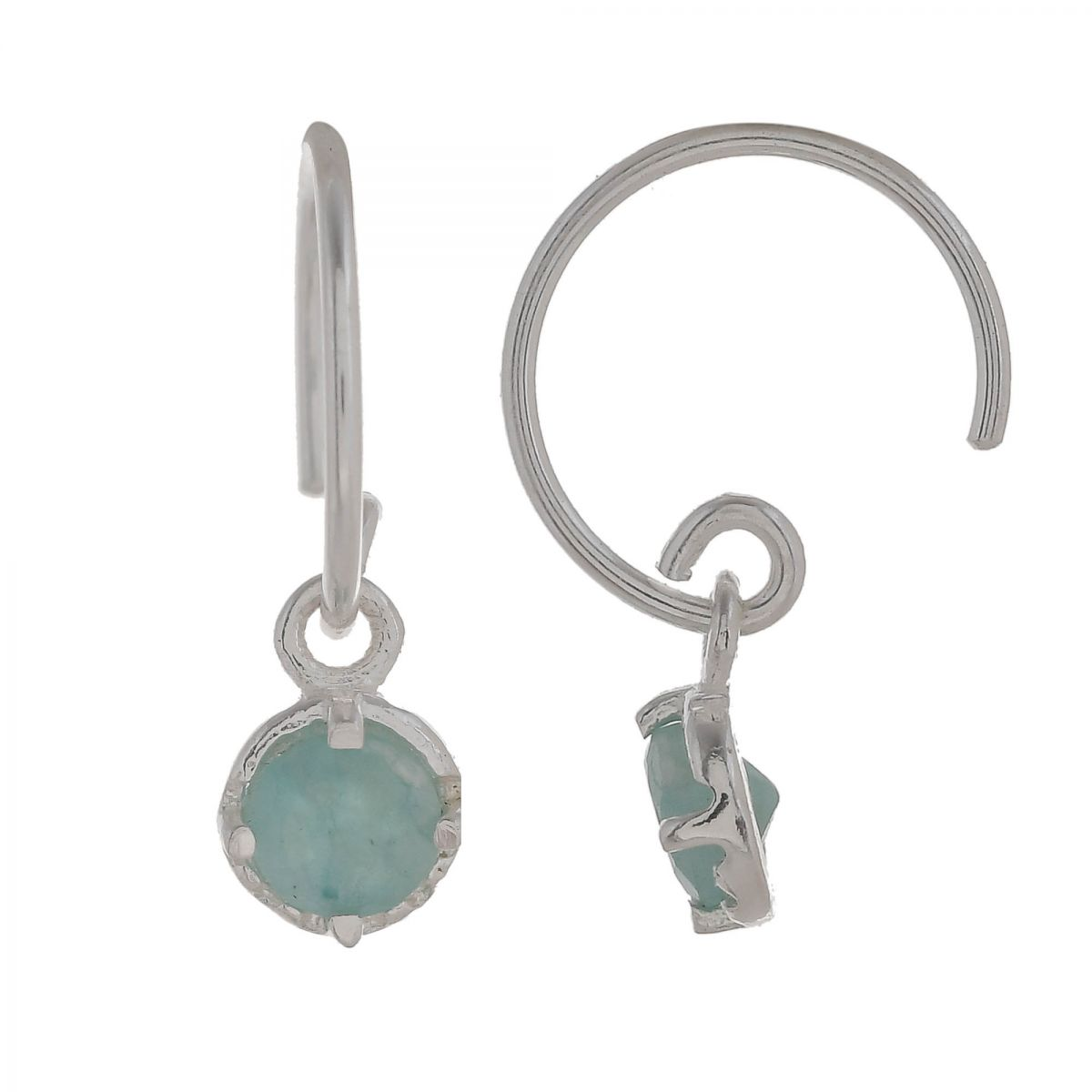 c earring 4mm hanging round amazonite
