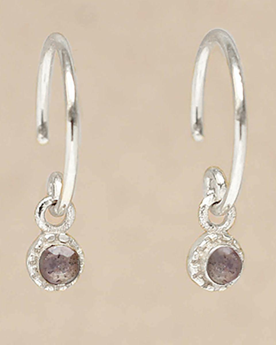 c earring hanging labradorite round with stone