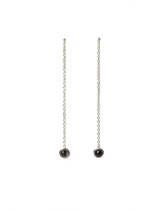Earring pull through with round stone