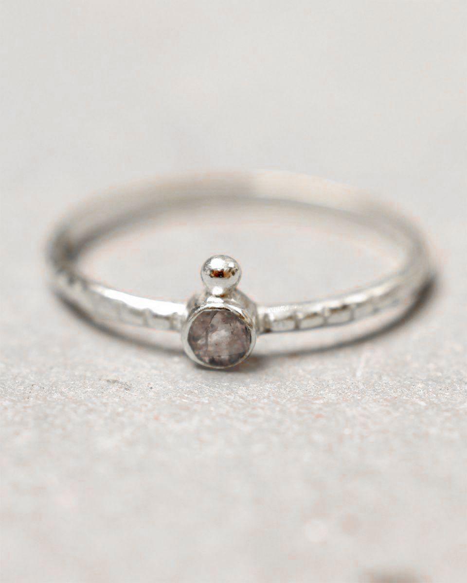 c ring size 54 3mm round 1 dot labradorite