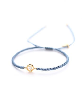 D- bracelet blue cord with zirkonia gold plated