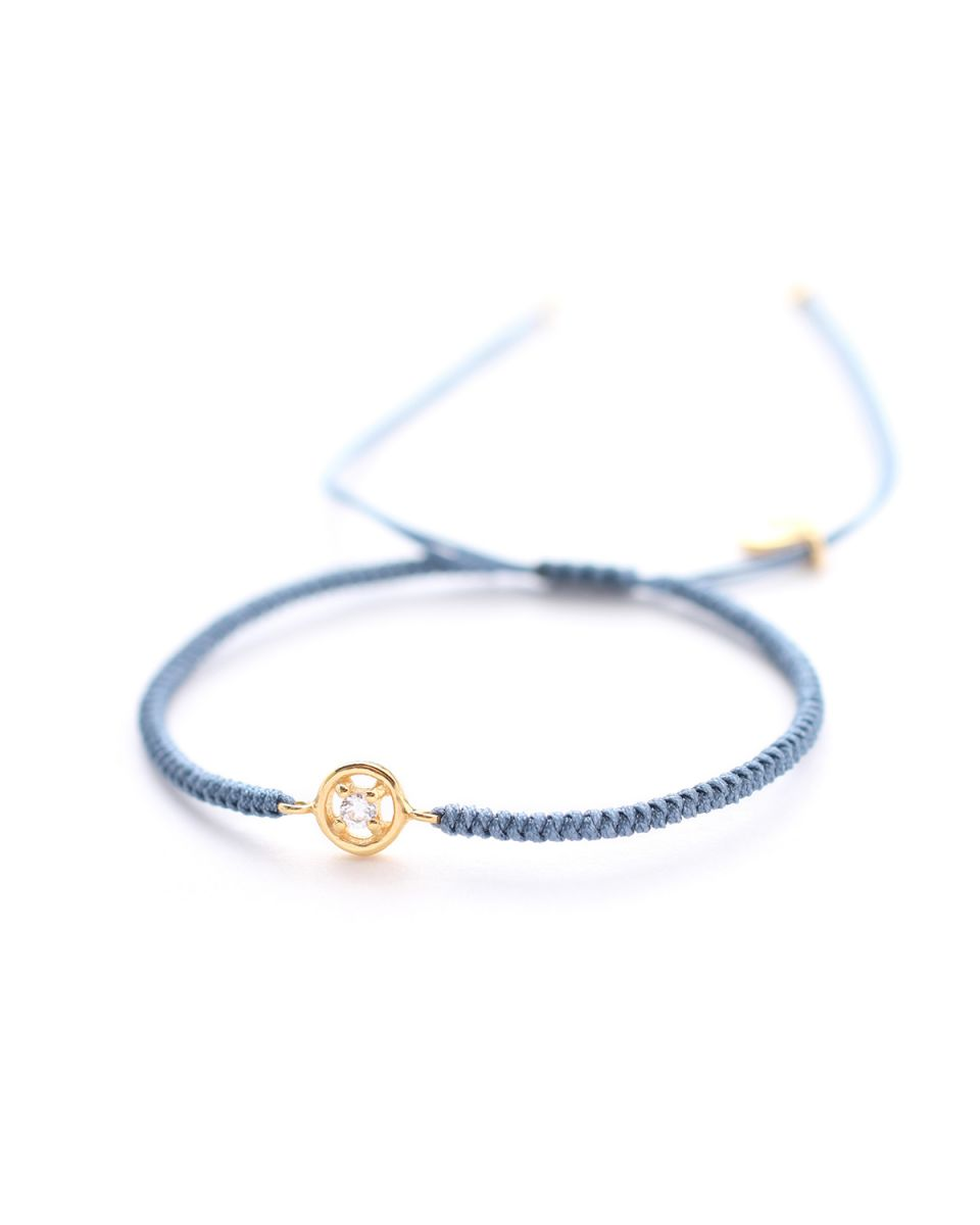 d bracelet blue cord with zirkonia gold plated