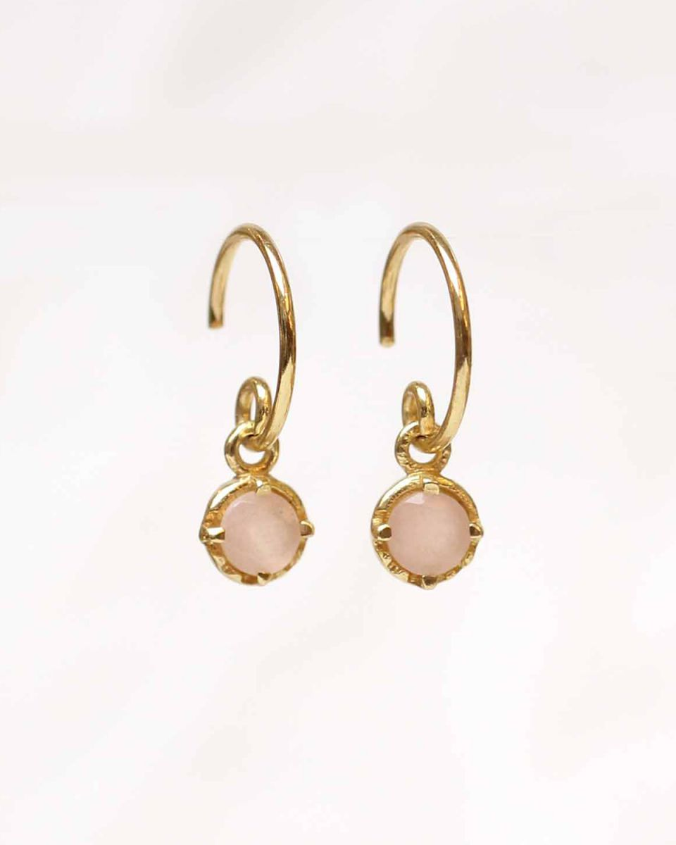 d earring 4mm hanging round pink opal gold plated