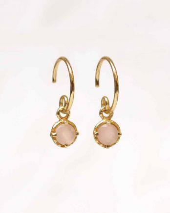 D- earring 4mm hanging round pink opal gold plated
