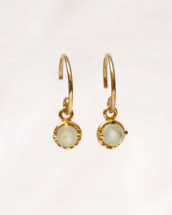 D- earring 4mm hanging round prenite gold plated