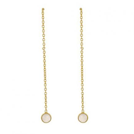 D- earring 4mm moonstone pull through gold plated