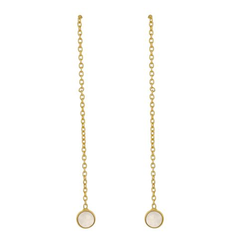 d earring 4mm moonstone pull through gold plated