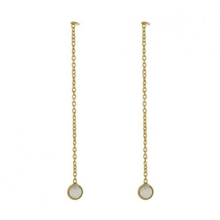 D- earring 4mm prenite pull through gold plated
