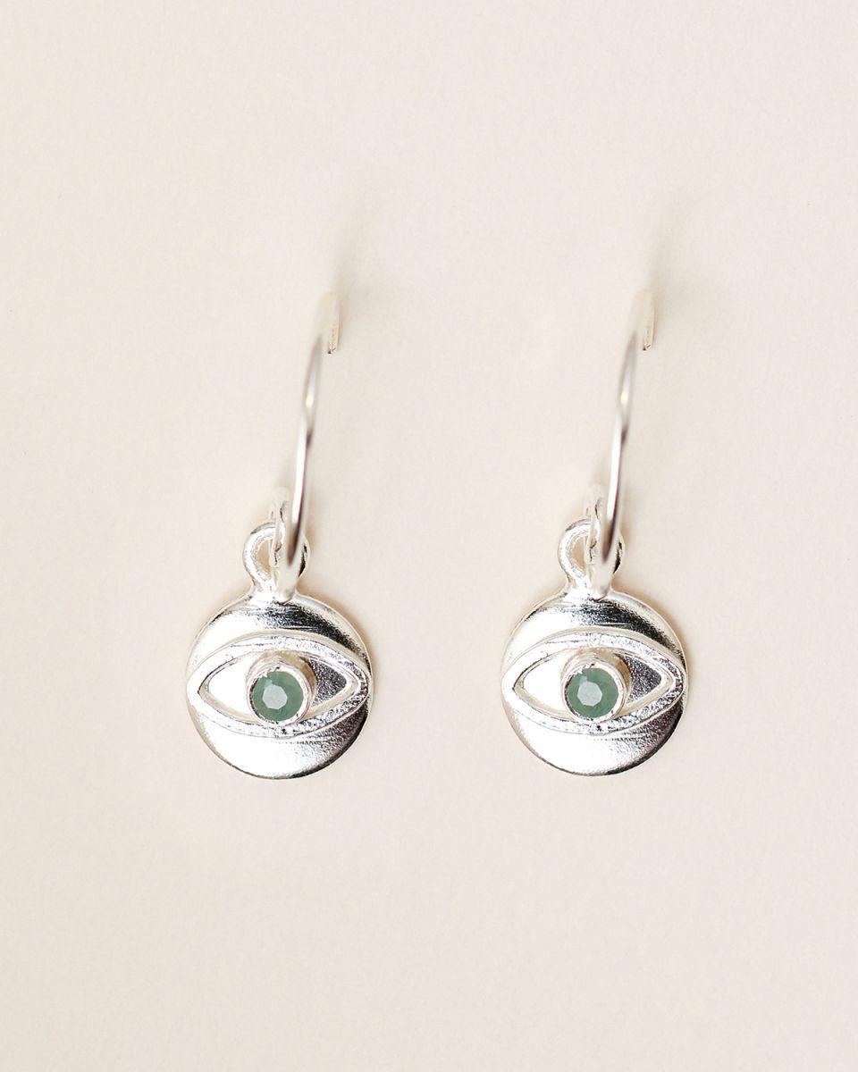 d earring 8mm coin eye amazonite