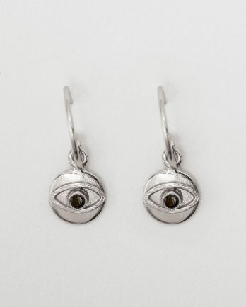 D- earring 8mm coin eye black zirkonia