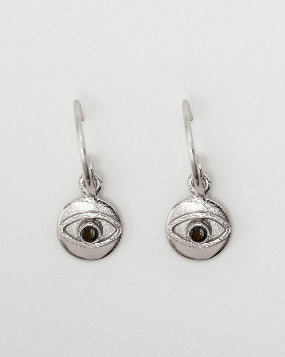 d earring 8mm coin eye black zirkonia