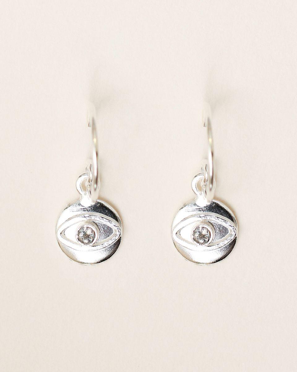 d earring 8mm coin eye labradorite